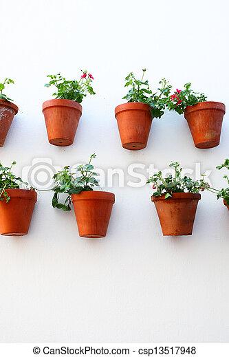 Wand, blumentöpfe. Wand, andalusien, flowerpots., spanien, haus.
