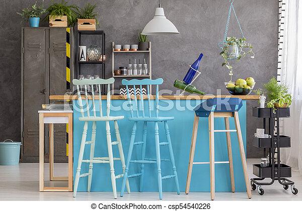Wand, Esszimmer, Graue   Csp54540226