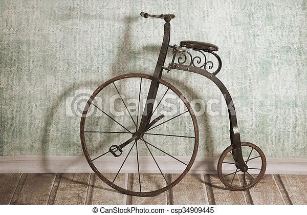 Wand Fahrrad Historische Kinder Fahrrad Historische Hochrad