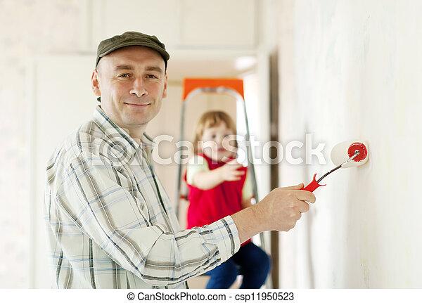 Wand, farben, vater, kind. Wand, farben, vater, daheim, kind ...