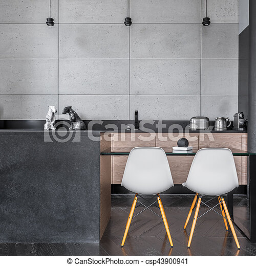 Wand- fliesen, grau, kueche . Wand, modern, grau, stühle, tisch ...