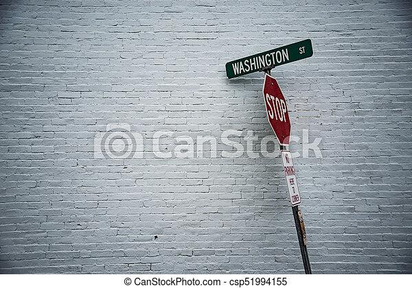 wand, front, weißes, straße zeichen - csp51994155