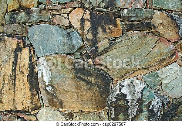 wand, gemacht, natürlich, bunte, steinen - csp0297507