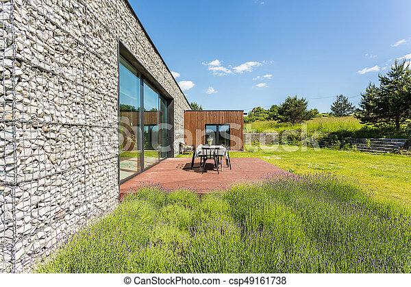 Wand, Haus, Kiesel, Terrasse   Csp49161738