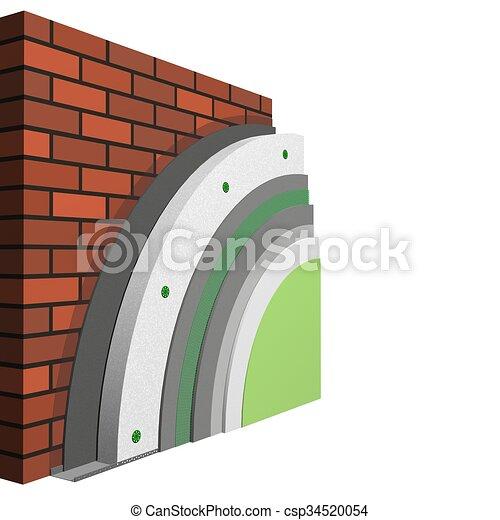 Wand Isolierung Schema 3d Polystyrol Schema Isolation Wand