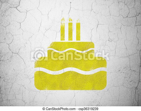 Wand, kuchen, feiertag, concept:, hintergrund. Wand, gelber ...