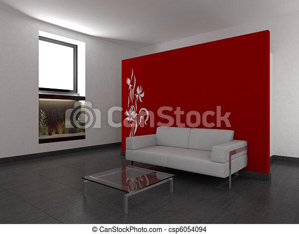 Wand, Lebensunterhalt, Modernes Zimmer, Rotes   Csp6054094