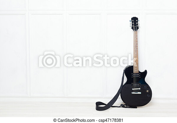 wand, propped, weißes, gitarre, front - csp47178381