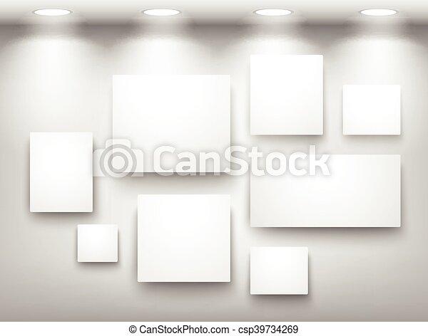 Wand, Rahmen, Beleuchtung, Galerie, Leerer   Csp39734269