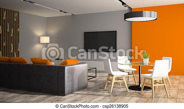 wand, sofa, modern, übertragung, inneneinrichtung, schwarz, orange, 3d - csp26138905