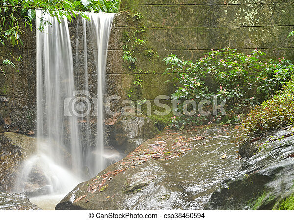 Wand Stein Wasserfall