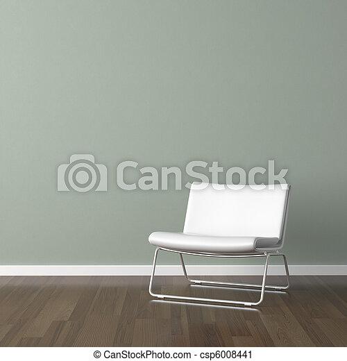 Weißer moderner Stuhl an der grünen Wand - csp6008441