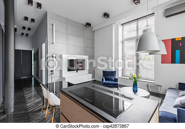 Wand, Wohnung, Fliesenmuster, Grau   Csp42873867