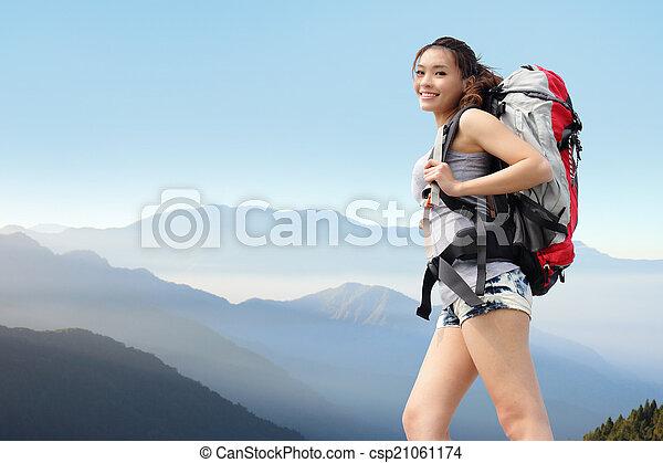 wandelaar, berg, vrouw, vrolijke  - csp21061174