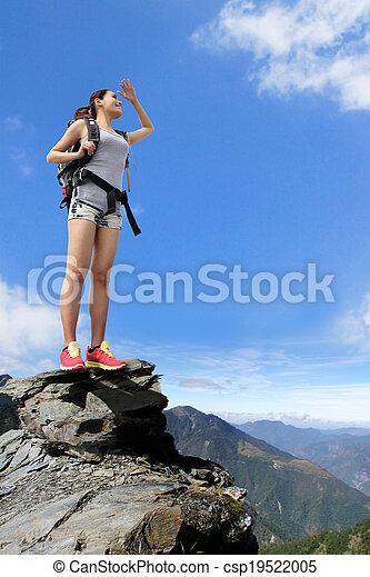 wandelaar, berg, vrouw, vrolijke  - csp19522005