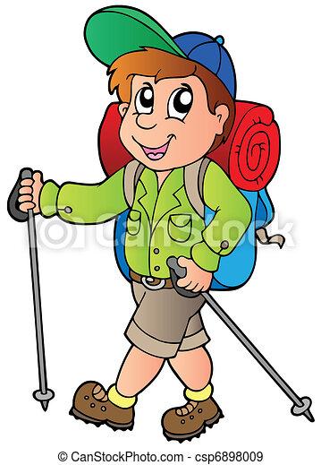 wandelaar, jongen, spotprent - csp6898009