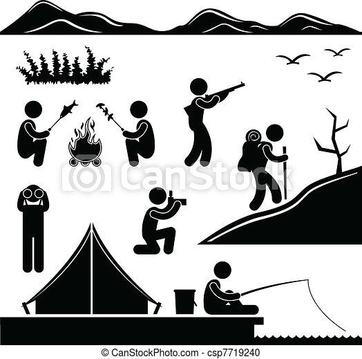 wandelende, kamp, jungle, kamperen, trekking - csp7719240