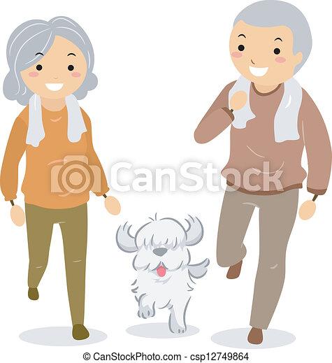 wandelende, stickman, paar, dog, hun, senior - csp12749864