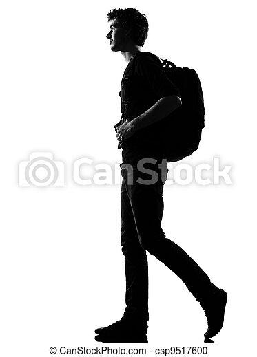 wanderer, gehen, silhouette, junger mann - csp9517600
