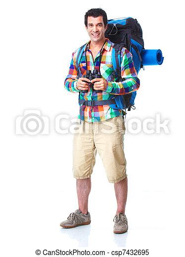 wanderer, hiking., tourist, mann - csp7432695