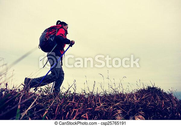 wanderer, strand, woman, wandert, spur - csp25765191