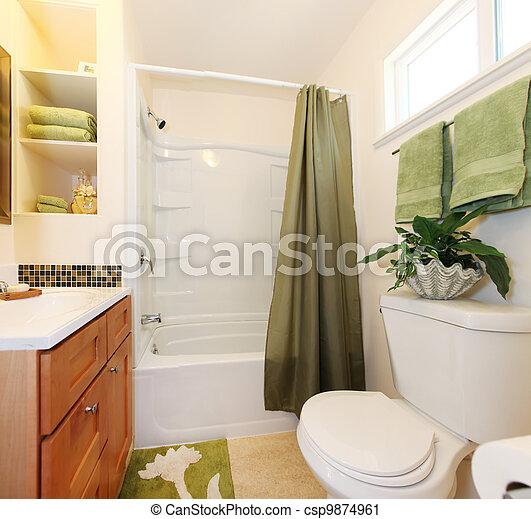 Wanne, badezimmer, grün weiß, cabinet. Badezimmer, holz, grün, wanne ...
