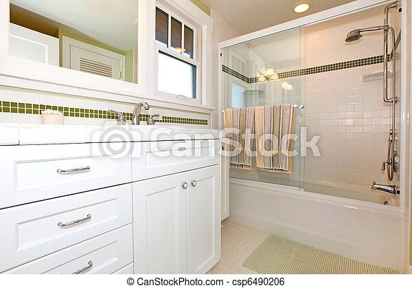 wanne, badezimmer, kabinette, grün weiß
