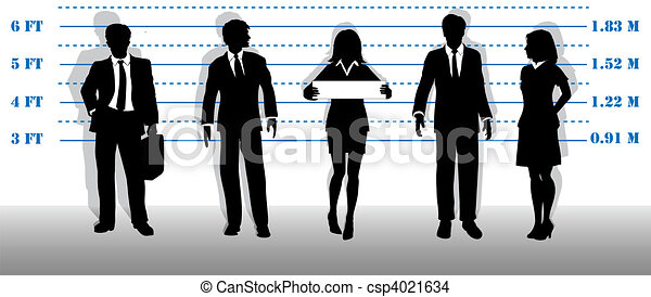 Wanted business people lineup mugshot - csp4021634
