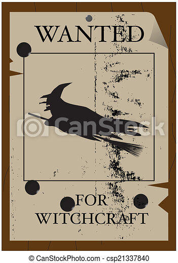 Wanted for Witchcraft Poster Grunged - csp21337840