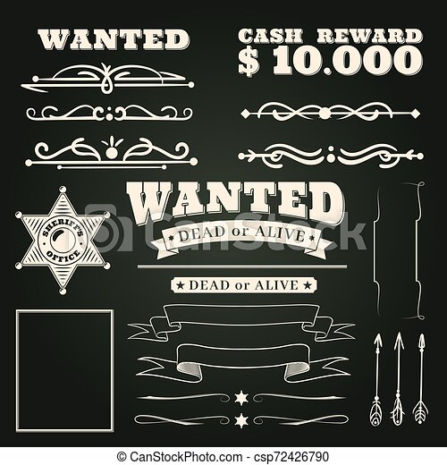 Wanted ornaments. Country vintage western saloon tattoos pattern and cowboy frame scroll elements on dark background vector illustration - csp72426790