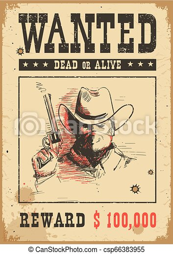 Wanted poster. Vector western illustration with bandit man in mask - csp66383955