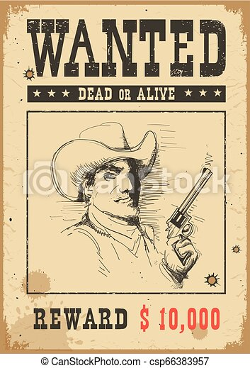 Wanted poster. Vector western illustration with bandit man in mask and gun - csp66383957