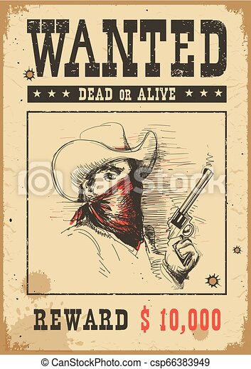Wanted poster. Vector western illustration with bandit man in mask - csp66383949