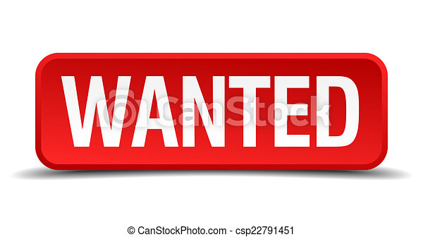 Wanted red 3d square button isolated on white - csp22791451