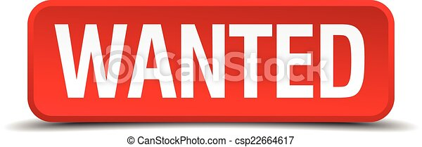 Wanted red 3d square button isolated on white - csp22664617