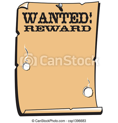 Wanted Reward Poster Western Sign - csp1396683