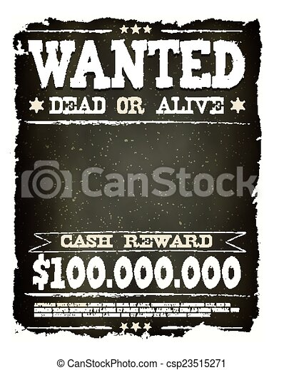 Wanted vintage western poster on chalkboard. Illustration of a ...
