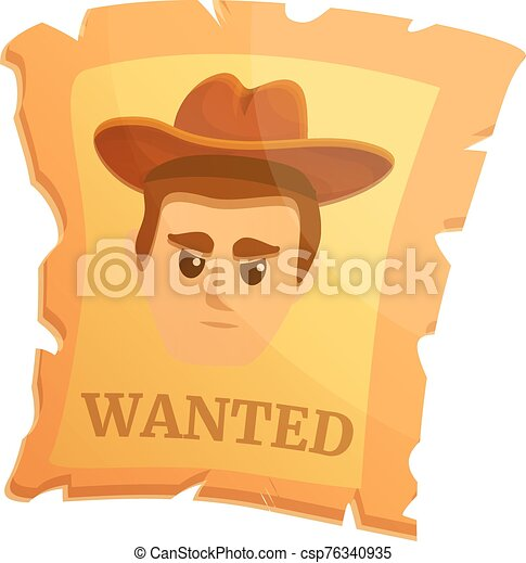 Wanted western paper icon, cartoon style - csp76340935