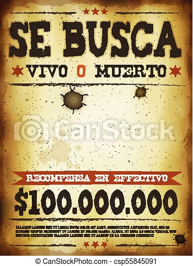 Wanted Western Poster Illustration Of A Vintage Old Placard