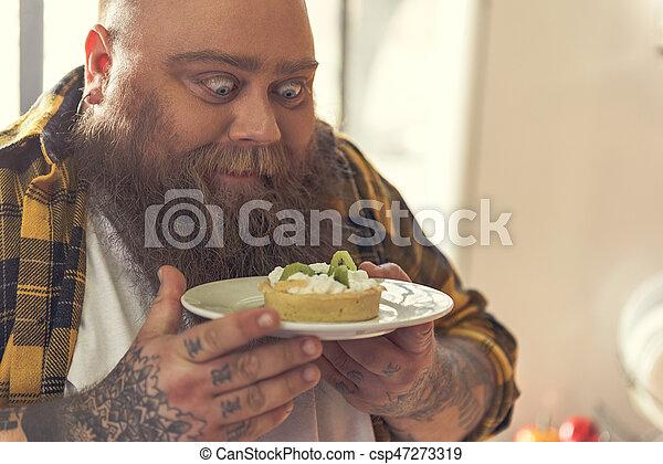 Wants Hungrig Essen Kuchen Dick Kerl Stehende Platte