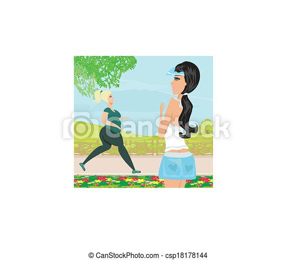 wants, vrouw, gewicht, verliezen - csp18178144