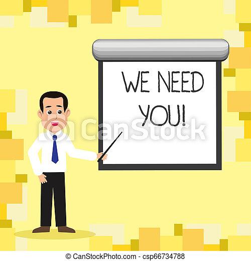 Te necesitamos escribiendo palabras. El concepto empresarial para la Compañía quiere reclutar empleados requeridos. - csp66734788
