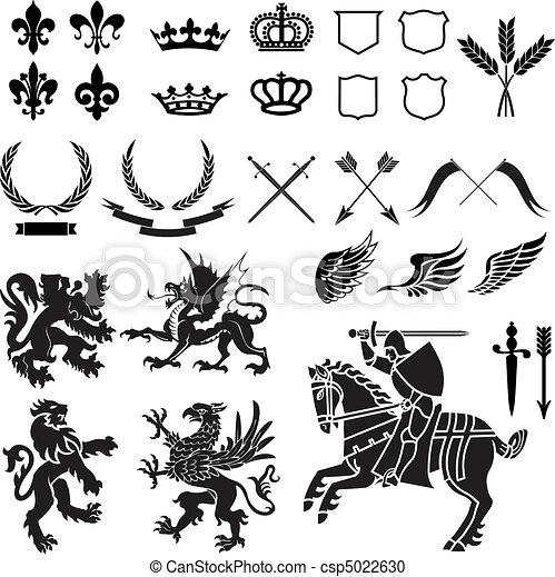 wapenkunde, set, ornament - csp5022630
