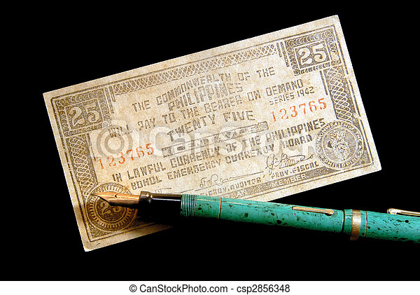 War Currency And Vintage Fountain Pen - csp2856348