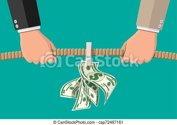 Un remolino de guerra. Dos hombres de negocios tirando de la cuerda por dinero - csp72497161