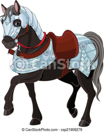 Illustration of black war horse vectors illustration ...