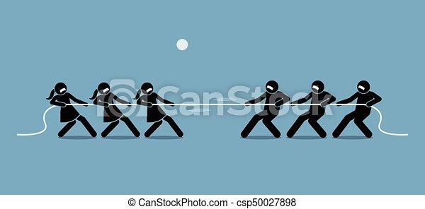 El hombre contra la mujer en el tira y afloja. - csp50027898