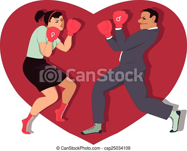 Line Drawing Heart Shape : War of sexes man and woman boxing heart shape on the vector