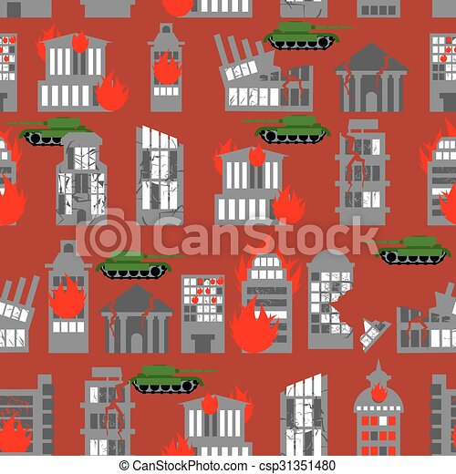 War seamless pattern. Ruined city. Tanks in town. Skyscrapers and public buildings destroyed. Background to danger. - csp31351480