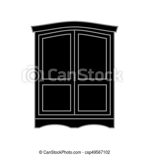 Wardrobe clipart black and white  Wardrobe black retro. furniture for clothes. vintage... vector ...